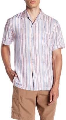 Tommy Bahama Stripe Me To Paradise Short Sleeve Silk Blend Shirt