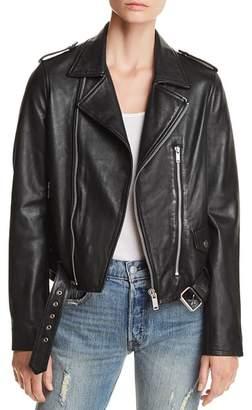 Aqua Belted Leather Moto Jacket - 100% Exclusive
