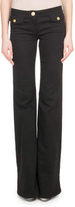 Balmain Flare-Leg Stretch-Cotton Pants