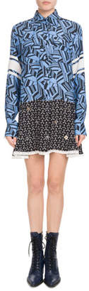Chloé Long-Sleeve Button-Front Geometric-Print Silk Dress w/ Mirror Grommets