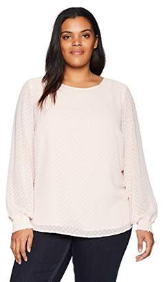 Nine West Women's Size Plus Solid Textured Long Sleeve Blouse