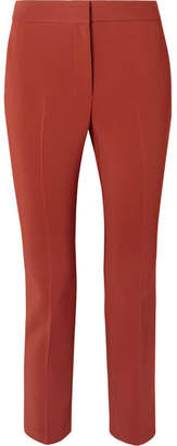 Rosetta Getty Cropped Stretch-cady Tapered Pants - Brick
