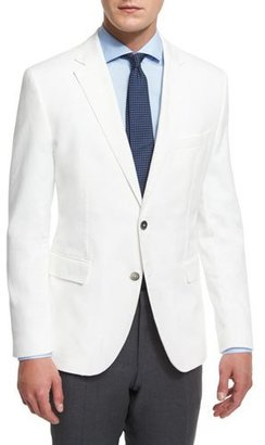 Boss Hugo Boss Waffle-Stitch Cotton Two-Button Sport Coat, White $595 thestylecure.com