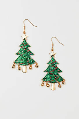 H&M Glittery Earrings - Green