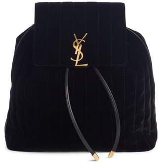 Saint Laurent Vicky Quilted Velvet Backpack