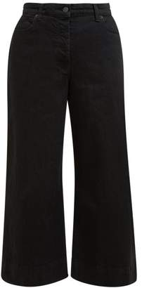 The Row Edna Wide Leg Cropped Denim Trousers - Womens - Black