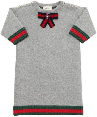 Gucci DOUBLE COTTON JERSEY DRESS W/ BOW