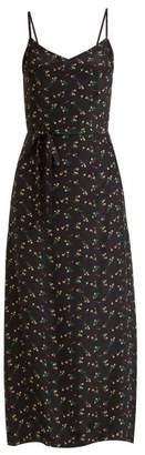 Hvn - Josephine Floral Print Silk Long Dress - Womens - Black Print