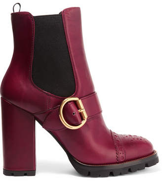Prada Leather Platform Boots - Burgundy