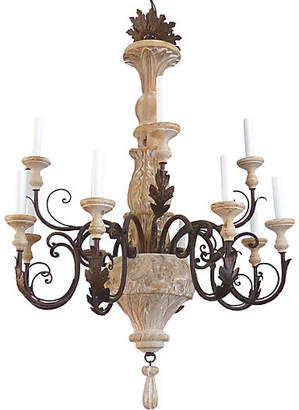 One Kings Lane Vintage 12-Light Wood & Iron Chandelier