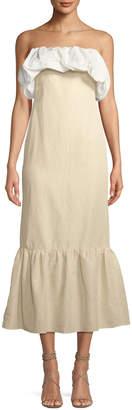 Neiman Marcus Rejina Pyo Allegra Ruched Strapless A-Line Linen Dress