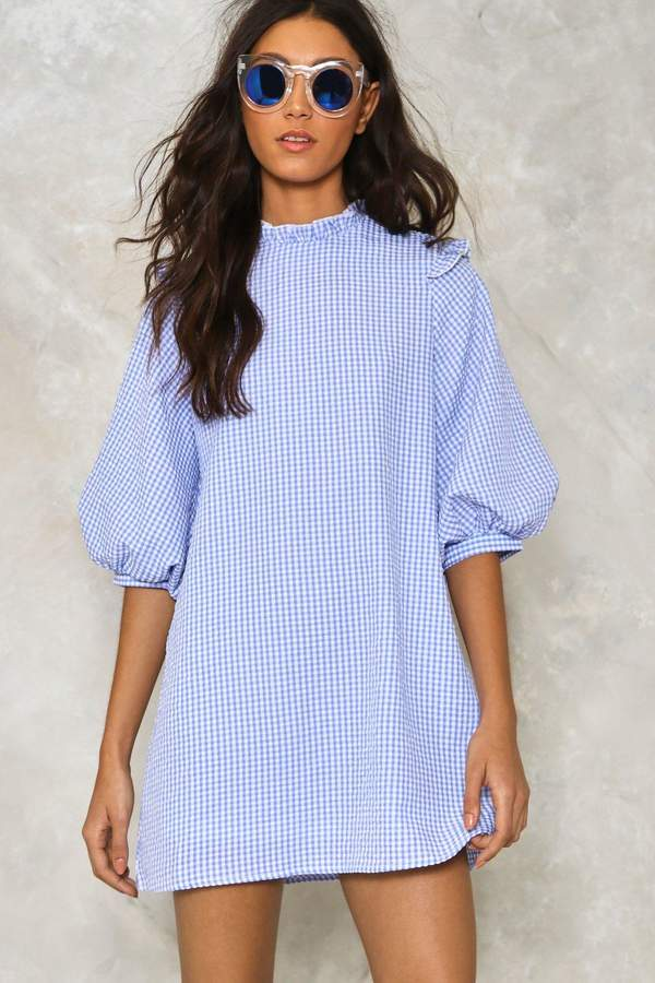 nastygal Puff Up the Volume Gingham Dress