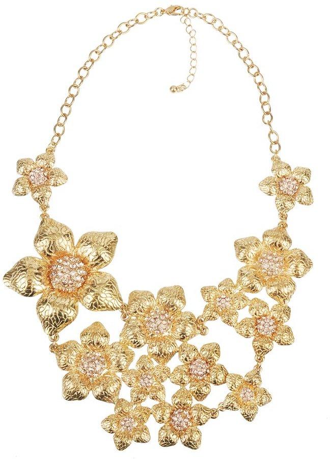 Forever 21 Textured Flower Bib Necklace