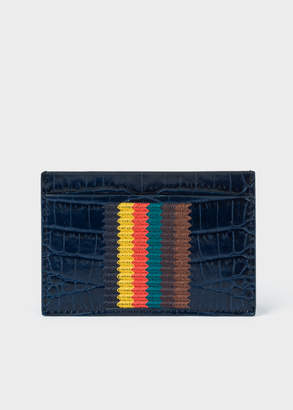 3712ccb610a5 Paul Smith Men's Blue Mock-Croc Leather Card Holder With 'Bright Stripe'  Embroidery