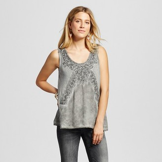 Knox Rose Women's Oil Wash Knit Tank with Lace Neck Detail $22.99 thestylecure.com