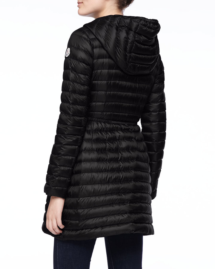 Moncler Long Puffer Coat with Drawstring, Black