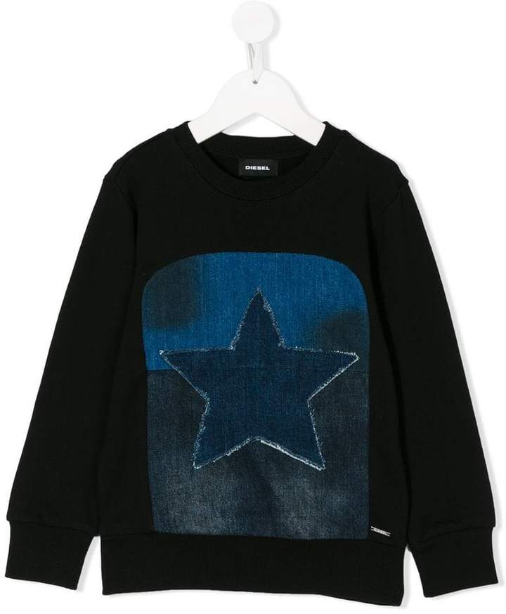 denim star patch sweatshirt