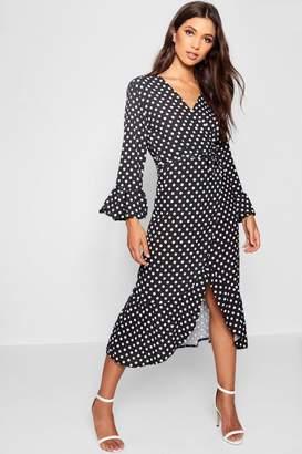 boohoo Wrap Front Polka Dot Ruffle Hem Maxi Dress