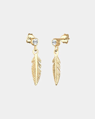 Swarovski Earring Feather Boho Hippie Crystals 925 Sterling Silver