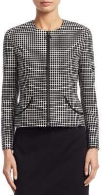 Akris Punto Long Sleeve Grid Pattern Jacket