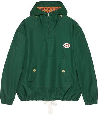 Gucci Hooded cotton jacket with patch