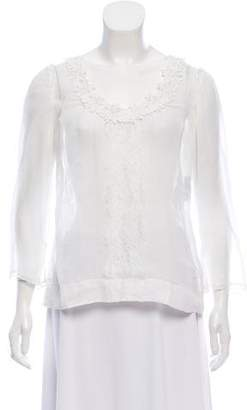 Dolce & Gabbana Sheer Embroidered Top