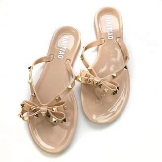 2f8c337bb66ea Mtzyoa Women Studs Flip-Flops Beach Flat Sandals Slip On Strap Toe Jelly  Shoes