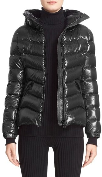 Moncler Women's Moncler 'Anthia' Water Resistant Shiny Nylon Hooded Down Puffer Jacket