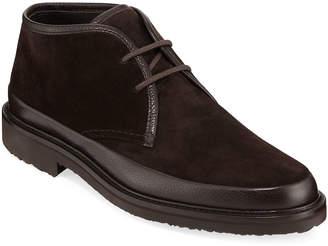 Ermenegildo Zegna Men's Trivero Leather-Trimmed Suede Chukka Boots