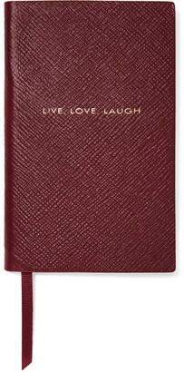 Smythson Panama Live, Love, Laugh Textured-leather Notebook - Burgundy