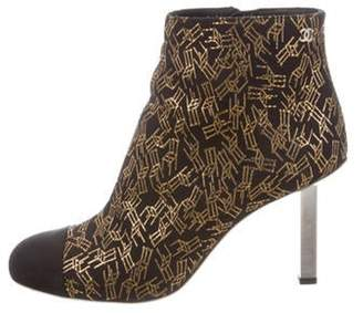 Chanel Jacquard Ankle Boots Black Jacquard Ankle Boots