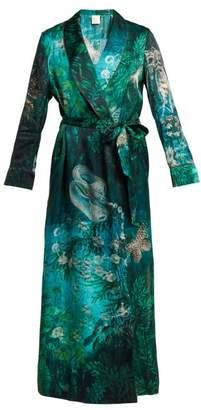 Morpho + Luna - Bianca Sirens Print Silk Satin Robe - Womens - Green Print