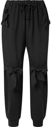 Simone Rocha Bow-embellished Stretch-jersey Track Pants - Black