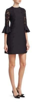 Valentino Lace Trim Ruffle Sleeve Dress