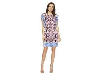 London Times Printed Matte Jersey Round Neck Dress Women's Dress
