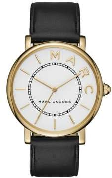 Marc Jacobs RoxyThree-Hand Black Leather Strap Watch