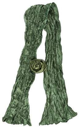 Fortuny Silk Floral-Accented Scarf