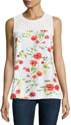 Kensie Sleeveless Floral-Print Lace-Yoke Woven Top $49 thestylecure.com