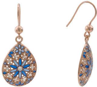Made In Italy Plated Sterling Silver Flower Enamel Earrings