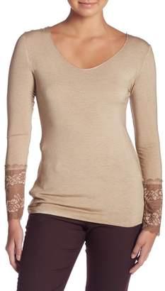Tempo Paris Long Sleeve Lace Cuff Blouse