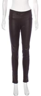 Maggie Ward Mid-Rise Leather Pants
