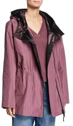 Brunello Cucinelli Taffeta Satin-Hooded Cinched-Waist Anorak Jacket