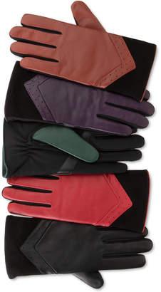 isotoner Women SleekHeat Leather smarTouch Gloves with Fleece Lining