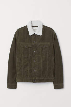 H&M Pile-lined Corduroy Jacket - Green