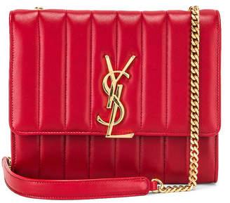 Saint Laurent Vicky Chain Wallet Bag in Rouge Eros   FWRD