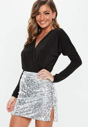 Missguided Petite Silver Sequin Mini Skirt