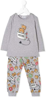 Moschino Kids Teddy toaster print pajama set