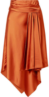 Jonathan Simkhai Draped Satin Midi Skirt - Brass