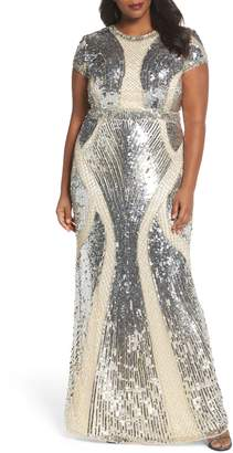 Mac Duggal Jewel Neck Sequin Gown