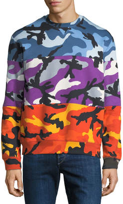 Valentino Men's Multicolor Pieced Camouflage Sweatshirt